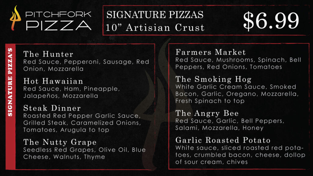Signature Pizzas Menu