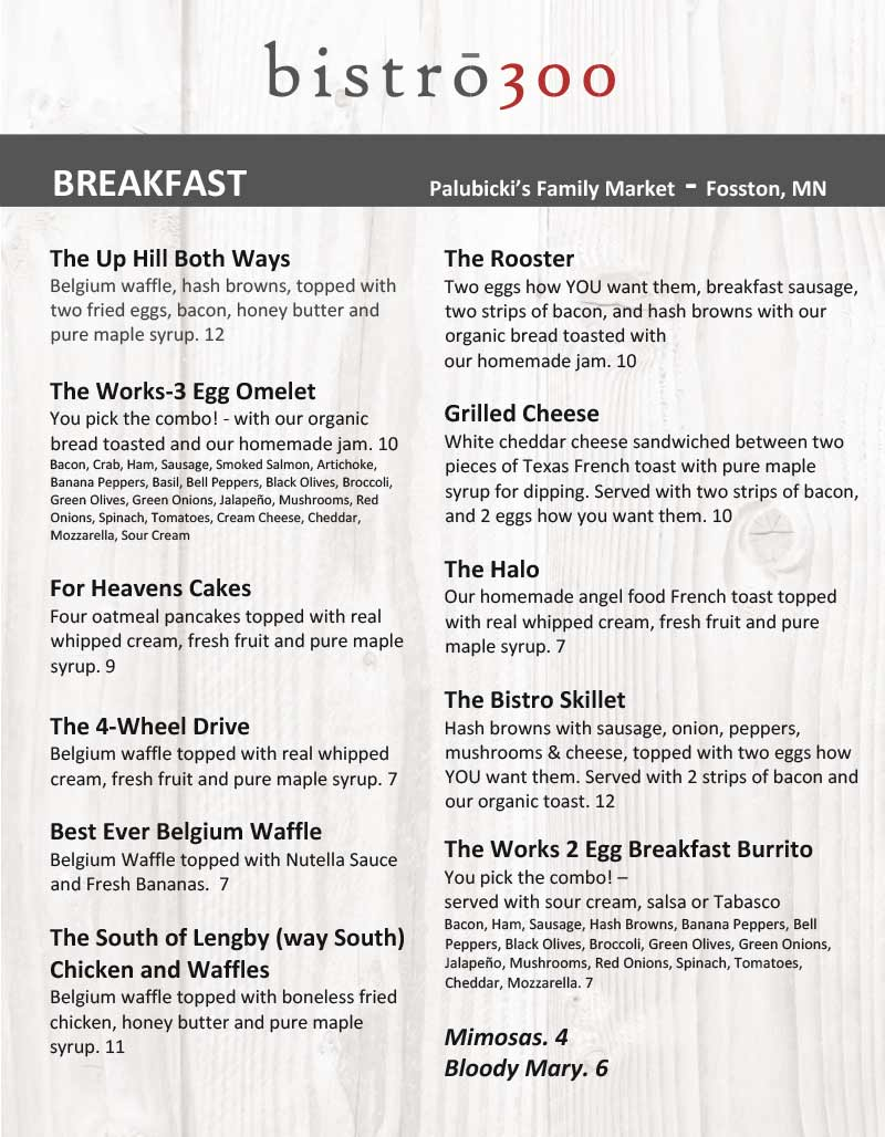 Fosston Breakfast Menu