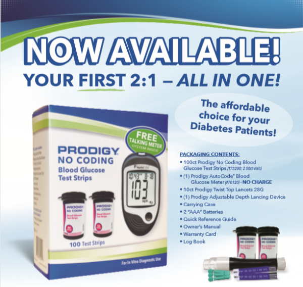 Prodigy Auto Code Glucose Meter  The Number #1 talking meter in the US|  FREE with the purchase of 100 strips